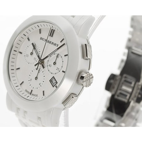 Swiss Made Burberry Ceramic White Chronograph Dial Watch BU1770