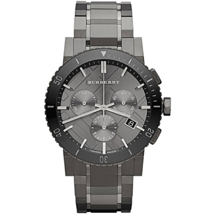 Swiss Made Burberry Chronograph Gunmetal Dial Grey Ion-plated Stainless Steel Men's Watch BU9381