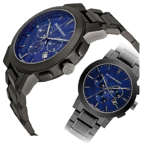Swiss Made Burberry Chronograph Blue Dial Dark Grey Ion-plated Men's Watch BU9365