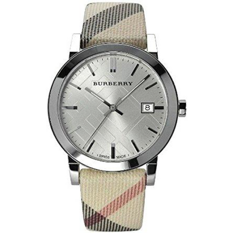 Swiss Made Burberry Pink Check Stamped Stainless Steel Ladies Watch BU9124