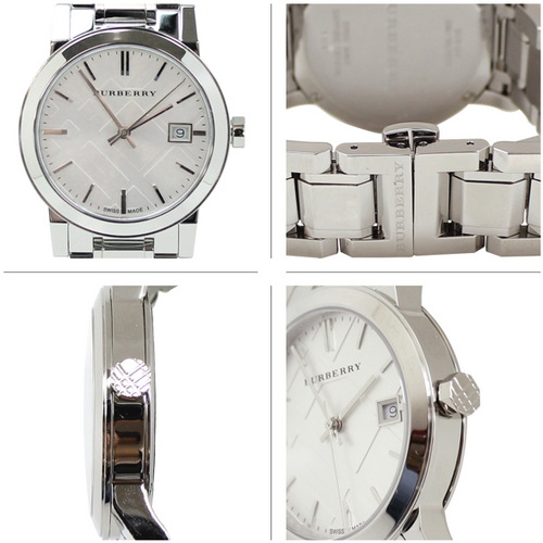 Swiss Made Burberry The City Collection Check Stamped Stainless Steel 34mm Round Dial BU9100