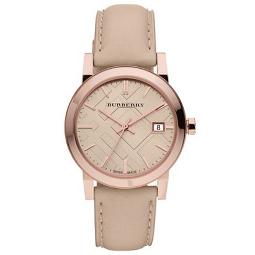 Swiss Made Burberry The City Collection Check Stamped 34mm Round Dial BU9109