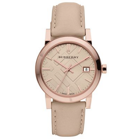 Swiss Made Burberry The City Collection Check Stamped 38mm Round Dial BU9014