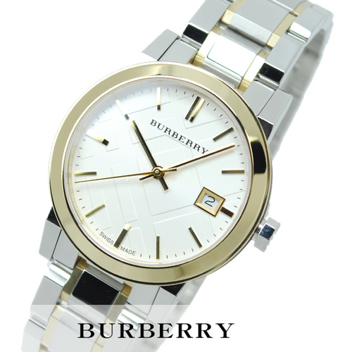 Swiss Made Burberry The City Collection Silver Dial Two-tone Silver and Gold-tone Bracelet Ladies Watch BU9115