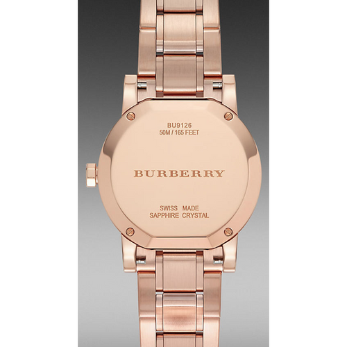 Swiss Made Burberry The City Rose Gold Diamond Ladies Watch BU9126