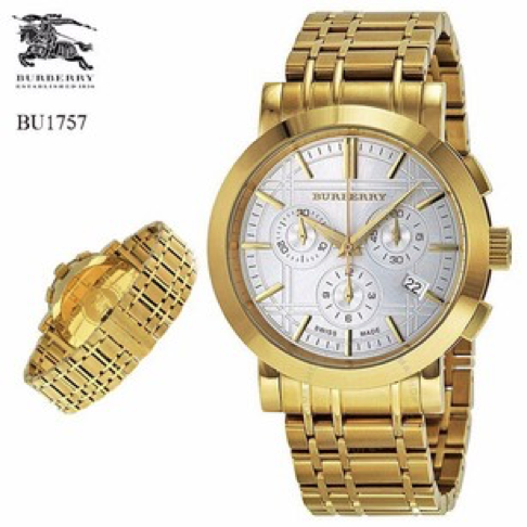 Swiss Made Burberry Heritage Chronograph Silver Dial Gold-Tone Men's Watch BU1757