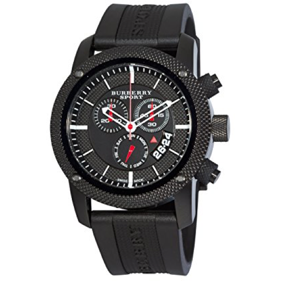Swiss Made Burberry Endurance Collection Chronograph Black Dial Black PVD Men's Watch BU7701