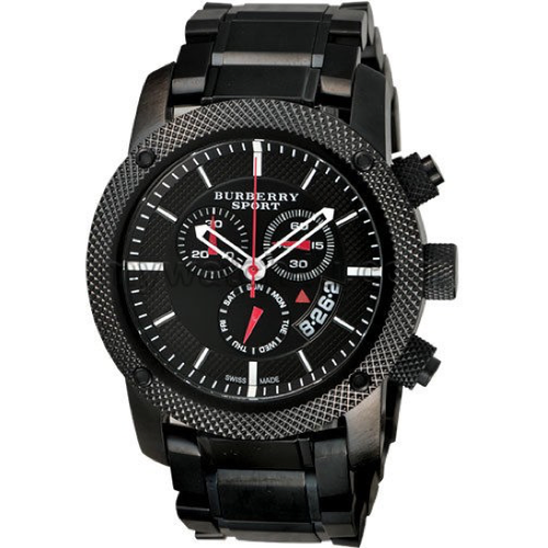 Swiss Made Burberry Endurance Sport Collection Black Steel Chronograph Watch BU7703