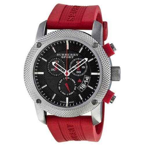 Swiss Made Burberry Endurance Sport Collection Chronograph Black Dial Red Rubber Men's Watch BU7706