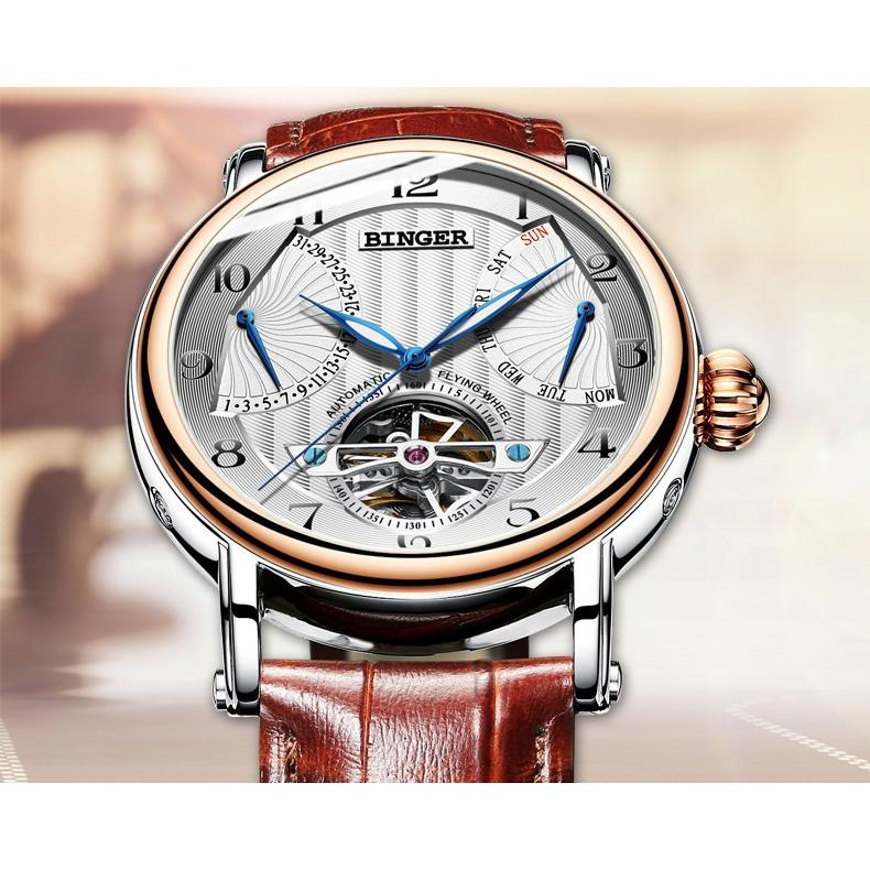 Binger Single Tourbillon Mechanical Mens Swiss