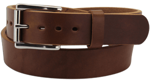 "The King Edward - Medium Brown Smooth Edge Bullhide Gun Belt - 15 oz - 1.5"" Wide (SKU K100134)"