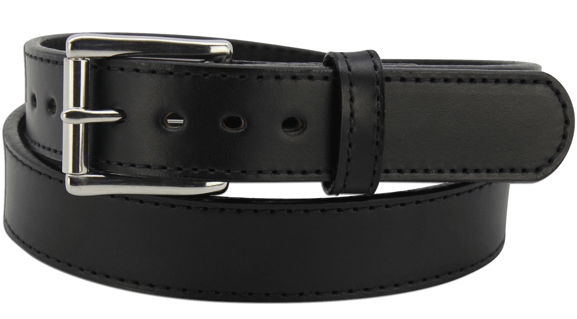 "The King George - Black Stitched Edge Bullhide Gun Belt - 15 oz - 1.5"" Wide (SKU K100318)"