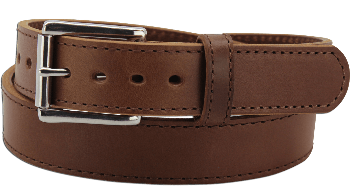 "The King George - Medium Brown Stitched Edge Bullhide Gun Belt - 15 oz - 1.5"" Wide (SKU K100334)"