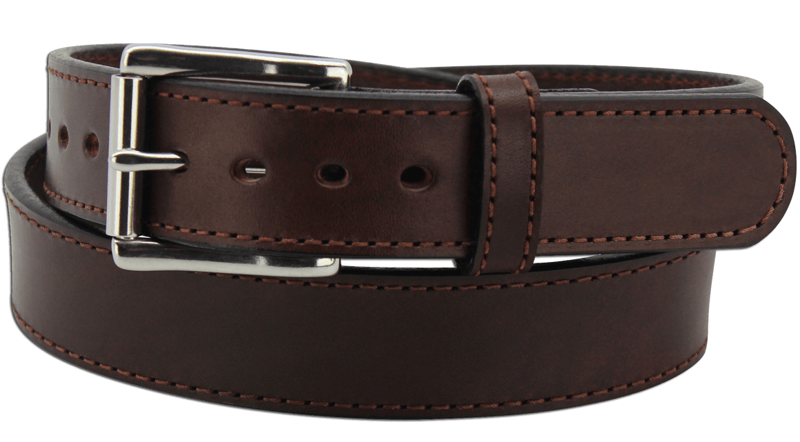 "The King George - Brown Stitched Edge Bullhide Gun Belt - 15 oz - 1.5"" Wide (SKU K100336)"