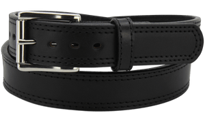 "The King John - Black Double Stitched Edge Bullhide Gun Belt - 15 oz - 1.5"" Wide (SKU K100418)"