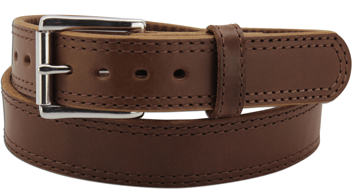 "The King John - Medium Brown Double Stitched Edge Bullhide Gun Belt - 15 oz - 1.5"" Wide (SKU K100434)"