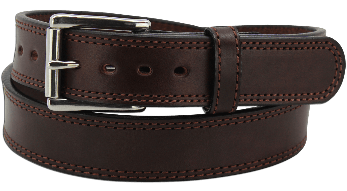 "The King John - Brown Double Stitched Edge Bullhide Gun Belt - 15 oz - 1.5"" Wide (SKU K100436)"