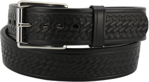 "The King Alfred - Black Basket Weave Bullhide Gun Belt - 15 oz - 1.75"" Wide (SKU K100518)"