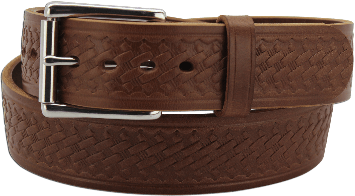 "The King Alfred - Medium Brown Basket Weave Bullhide Gun Belt - 15 oz - 1.75"" Wide (SKU K100534)"
