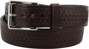 "The King Alfred - Brown Basket Weave Bullhide Gun Belt - 15 oz - 1.75"" Wide (SKU K100536)"