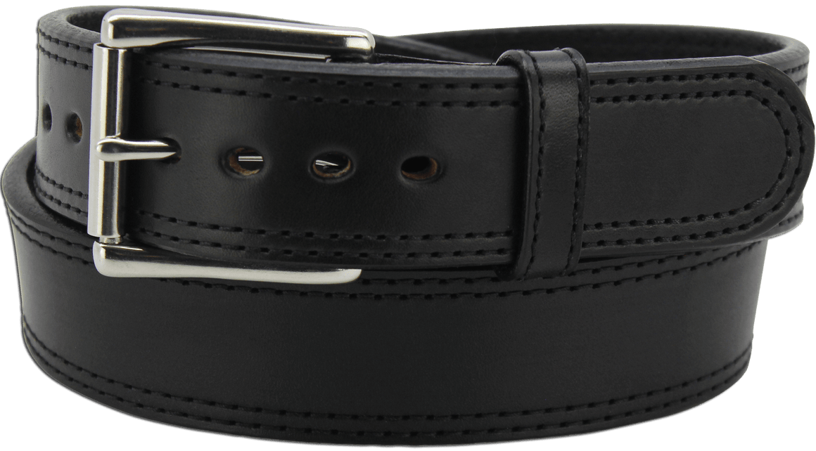 "The King Charles - Black Double Stitched Edge Bullhide Gun Belt - 15 oz - 1.75"" Wide (SKU K100618)"