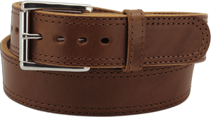 "The King Charles - Medium Brown Double Stitched Edge Bullhide Gun Belt - 15 oz - 1.75"" Wide (SKU K100634)"