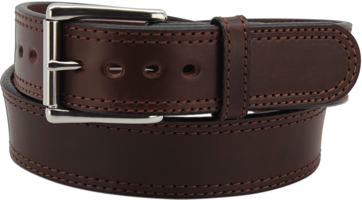 "The King Charles - Brown Double Stitched Edge Bullhide Gun Belt - 15 oz - 1.75"" Wide (SKU K100636)"