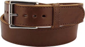 "The King David - Medium Brown Stitched Edge Bullhide Gun Belt - 15 oz - 1.75"" Wide (SKU K100734)"