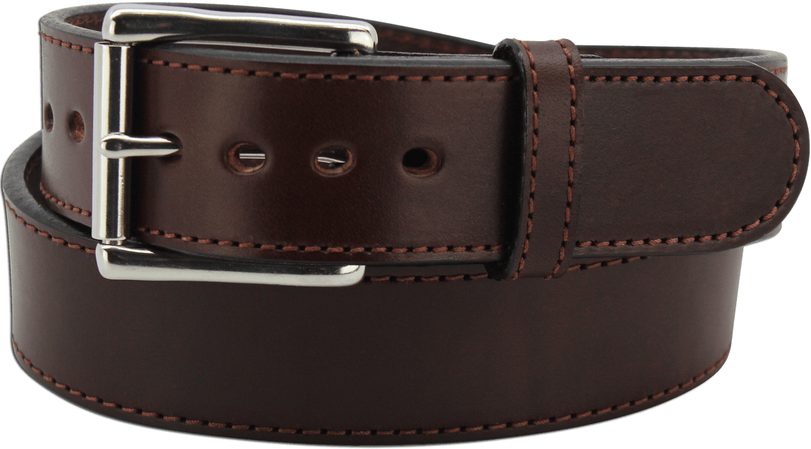 "The King David - Brown Stitched Edge Bullhide Gun Belt - 15 oz - 1.75"" Wide (SKU K100736)"