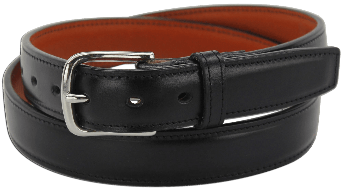 "The King Carloman - Black Stitched Italian Dress Leather Steel Core Gun Belt - 14 oz - 1.25"" Wide (SKU K101718)"