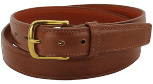 "The King Carloman - Cognac Stitched Italian Dress Leather Steel Core Gun Belt - 14 oz - 1.25"" Wide (SKU K101734)"