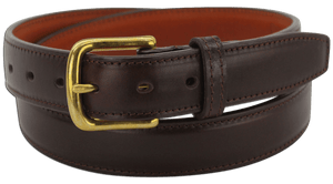 "The King Carloman - Brown Stitched Italian Dress Leather Steel Core Gun Belt - 14 oz - 1.25"" Wide (SKU K101736)"