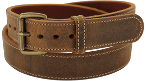 "The King William - Rustic Brown Stitched Water Buffalo Steel Core Gun Belt - 15 oz - 1.5"" Wide (SKU K103045)"
