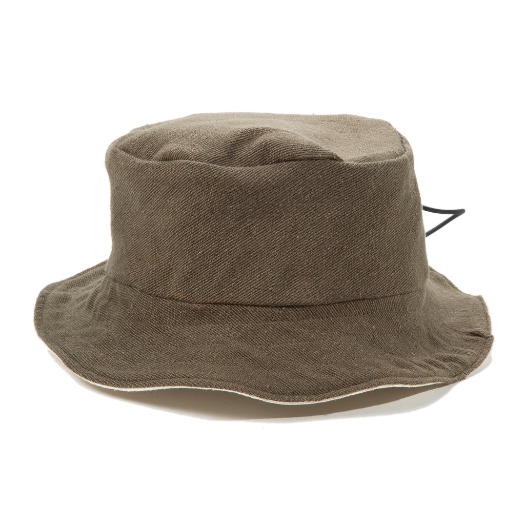 Reversible Bucket Hat in Olive/Cream