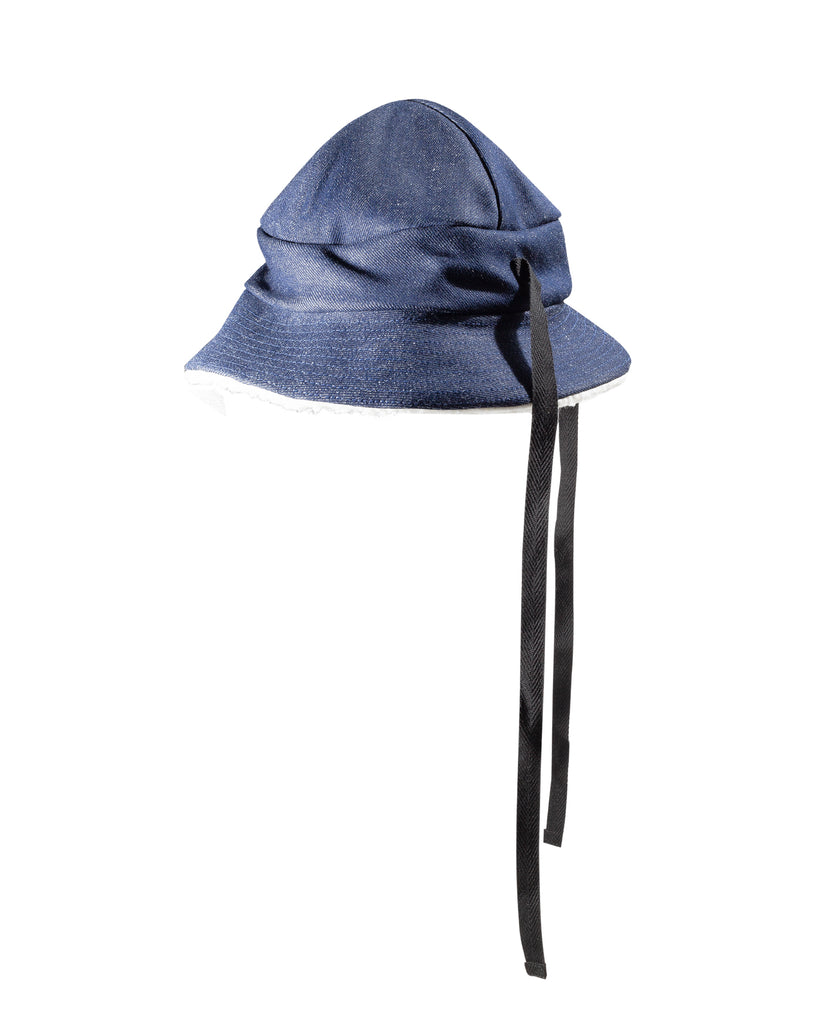 4-Panel Bucket Hat Denim & Sherpa Fleece