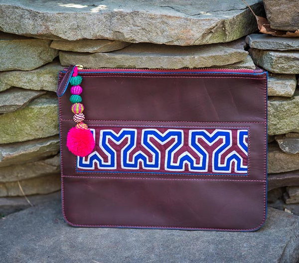 Colombian Leather Clutch - Maroon