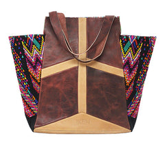 Guatemalan Brocade & Leather Tote