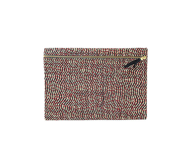 Small Kantha Pouch - Red & Black Stripe
