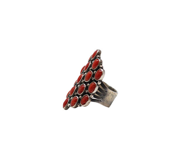 Coral Ring - Dark Coral Pyramid