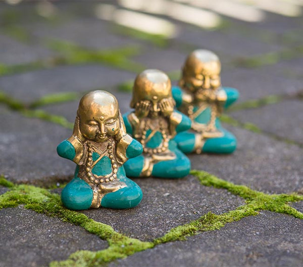 Buddha Hear No Evil Trio Set - Brass Jade
