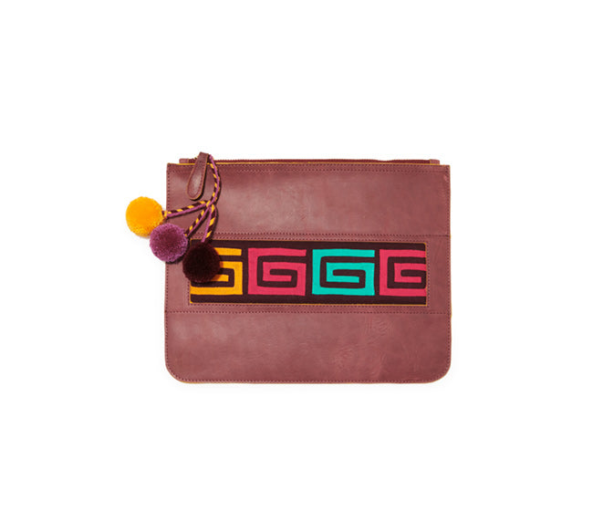 Colombian Leather Clutch - Wine