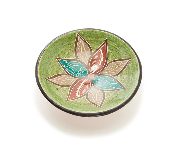 "Guaitil 6.25"" Bowl - Lime & Teal Flower"
