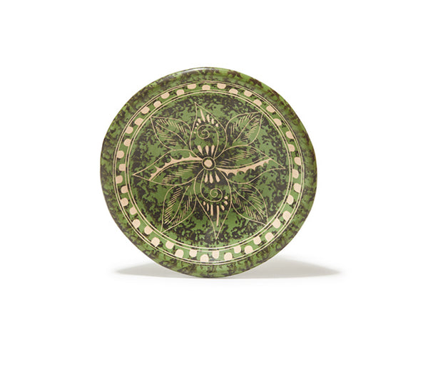 "Guaitil 6.5"" Bowl - Green & Black Sponge"
