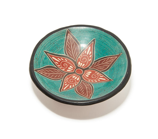 "Guaitil 6"" Bowl - Teal & Clay Flower"