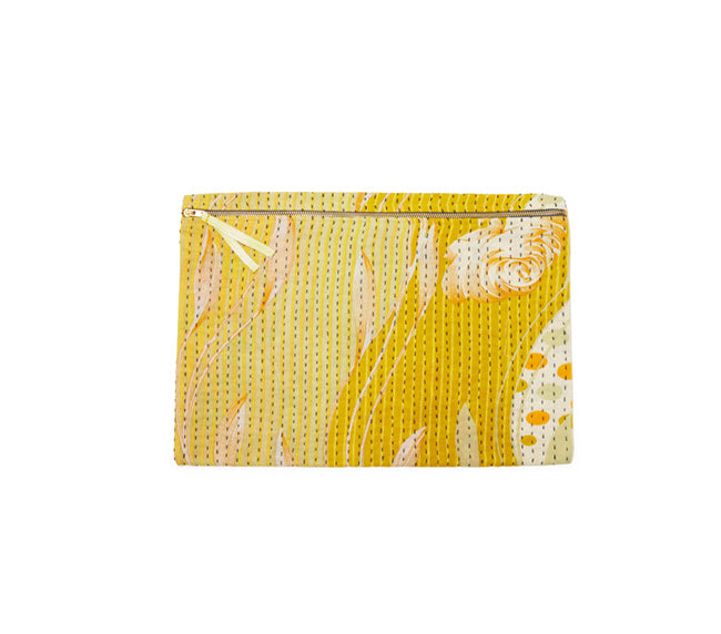 Large Kantha Pouch - Yellow Meadow Flower