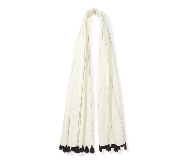 Black & White Scarf with Tassels