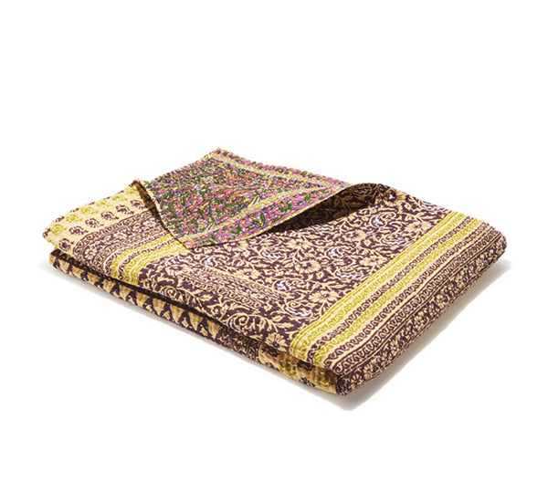 Medium Kantha Quilt - Purple Geo Paisley & Floral