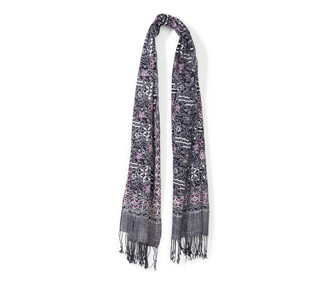 Batik Scarf - Purple & Navy