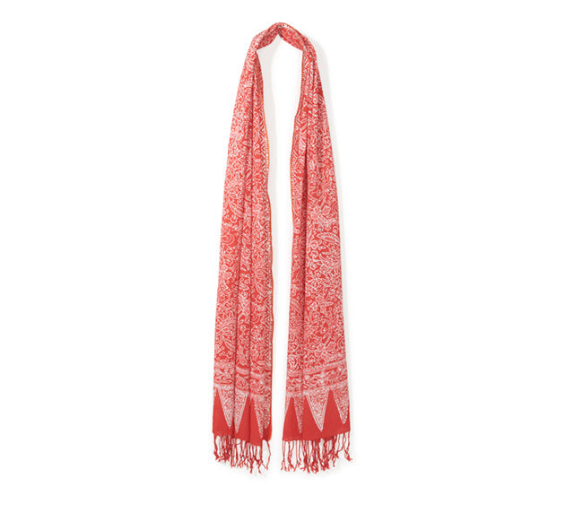 Batik Scarf - Bright Red & White