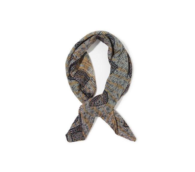 Square Scarf - Navy & Yellow
